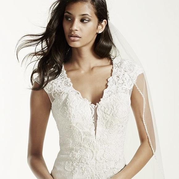 David\'s Bridal Dresses | Illusion Deep Plunge Neckline Lace Trumpet ...